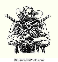 Skull cowboy in western hat and a pair of crossed gun revolver