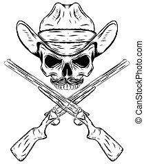 Skull cowboy in western hat and crossed gun