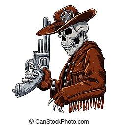 Skull cowboy. Skeleton Cowboy with revolver
