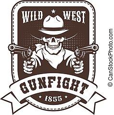 Skull Cowboy western badge - bandit with guns