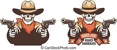 Skull cowboy western bandit with guns