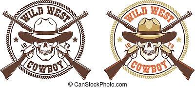 Skull cowboy with rifles - vintage wild west emblem