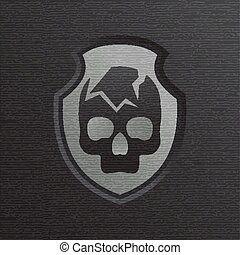 Skull cracked against a dark background with shield vector style logo design illustration