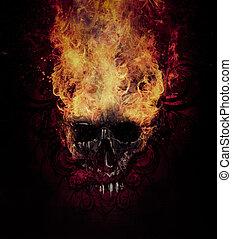 skull., croquis, brûlé, tatouage, brûler, tribal, flourishes, art