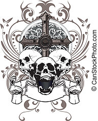 skull cross - three skulls with a cross and a coat of arms...