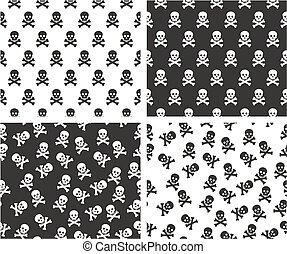 Skull & Crossbones Aligned & Random Seamless Pattern Set