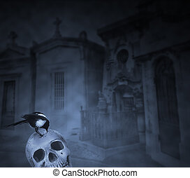 Crow on top of a human skull eating flesh remains against a cemetery background in a foggy niht