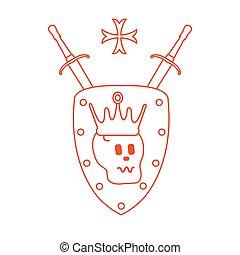 Skull, crown, shield, two crossed swords, cross.