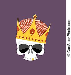 Skull Crown. White head skeleton in Sun points, and with gold teeth. Vector logo emblem for yard bullies. Emblem for gangs. Street Kings
