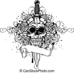 skull dagger rose - Vector illustration human death skull...
