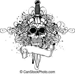 skull dagger rose - Vector illustration human death skull...