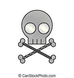 skull danger sign icon