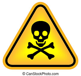 Skull danger sign isolated on white
