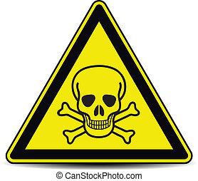 Skull danger sign, symbol.