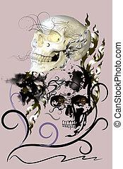 skull dark danger and line decoration