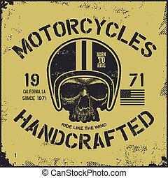 skull., desenho, biker., motor, vindima