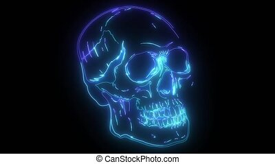 Skull digital neon video animation - human Skull digital ...