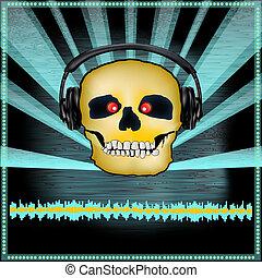 Skull DJ Set Flyer - Background illustration of a DJ...
