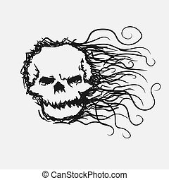 skull doodle line halloween vector isolated image on white isolated background.