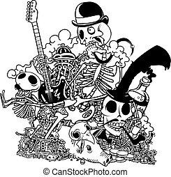 Skull Doodle. Vector illustration