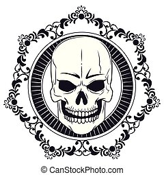 skull drawn tattoo icon