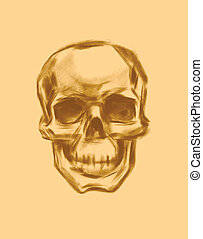 skull., drawn., vector., mano