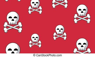 Skull falling background HD animation