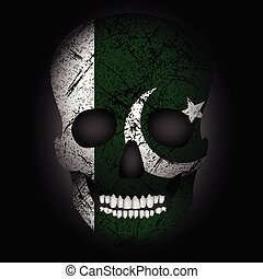 Skull flag Pakistan on a black background. Vector...