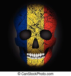 Skull flag Romania on a black background. Vector...