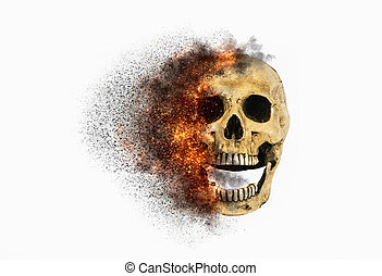 skull flames Fire effect on white background