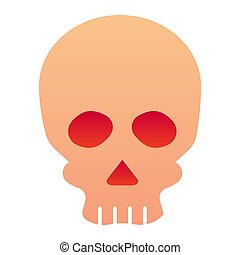 Skull flat icon. Deadman scary skeleton head. Halloween party vector design concept, gradient style pictogram on white background.