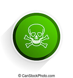 skull flat icon with shadow on white background, green modern design web element