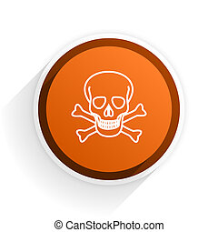 skull flat icon with shadow on white background, orange modern design web element