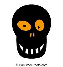 Skull flat single icon. Halloween skeleton head symbol of fear and danger. Black spooky decorative element. Vector illustration isolated on white background