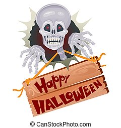 skull for halloween with a wooden sign on which there is an inscription, isolated object on a white background, vector illustration,