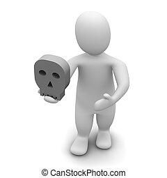 skull., gereproduceerd, illustration., hamlet., man, 3d