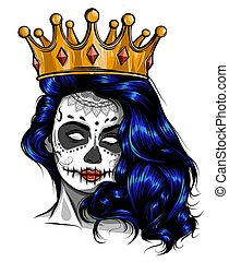 Skull girl with a crown. Vector illustration design