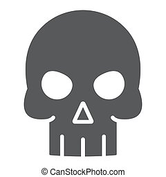 Skull glyph icon, halloween and death, skeleton sign, vector graphics, a solid pattern on a white background, eps 10.