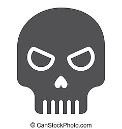 Skull glyph icon, halloween and scary, dead sign vector graphics, a solid pattern on a white background, eps 10.