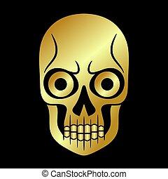Skull gold . Golden element collection.