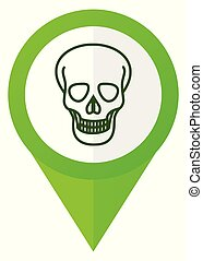Skull green flat design pointer vector icon isolated on white background