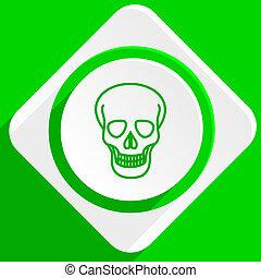 skull green flat icon