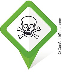 Skull green square pointer vector icon in eps 10 on white background with shadow.