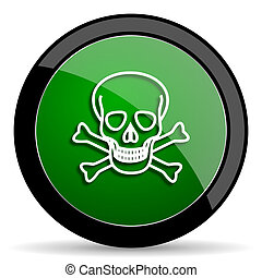 skull green web glossy icon with shadow on white background
