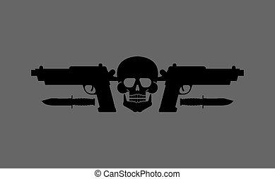 Skull gun and knife symbol. Army sign.