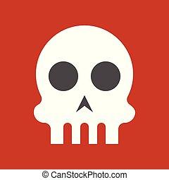skull, halloween character set icon, flat design