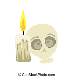 skull halloween with candle isolated icon