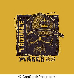 Skull. Hand drawn Illustration with typo for t shirt and...