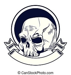 skull head drawn tattoo icon