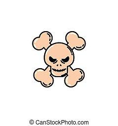skull head halloween flat icon